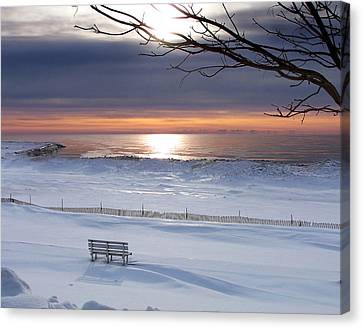 Winter Beach Morning Canvas Print by Bill Pevlor