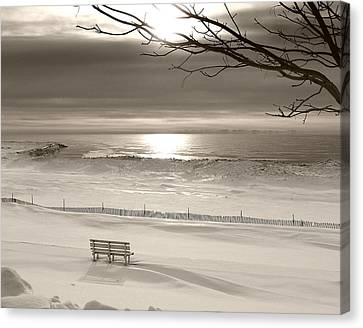 Winter Beach Morning Bw Canvas Print by Bill Pevlor