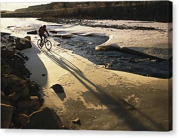 Winter Bicycling On The Partially Canvas Print by Kate Thompson