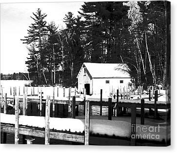 Winter Boathouse Canvas Print by Christy Bruna
