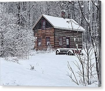 Canvas Print featuring the photograph Winter Cabin by Judy  Johnson