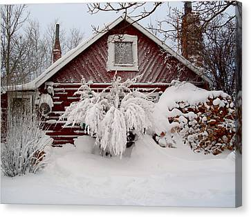 Winter Cabin  Canvas Print by Wesley Hahn