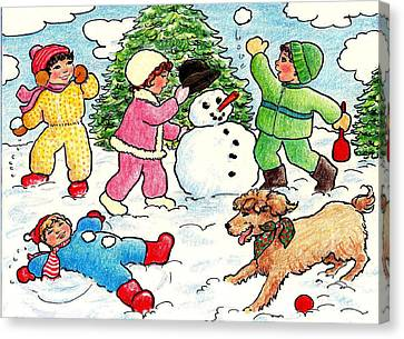 Canvas Print featuring the drawing Winter Fun by Dee Davis