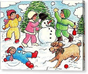 Winter Fun Canvas Print by Dee Davis