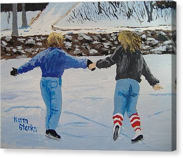 Canvas Print featuring the painting Winter Fun by Norm Starks