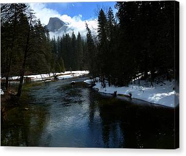 Winter Half Dome And The Merced River Canvas Print by Jeff Lowe