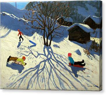 Winter Hillside Morzine France Canvas Print by Andrew Macara