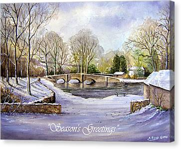 Winter In Ashford Xmas Card Canvas Print by Andrew Read