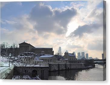 Winter In Philly Canvas Print by Bill Cannon