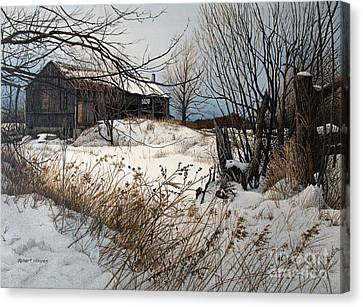 Winter In Prince Edward County Canvas Print by Robert Hinves