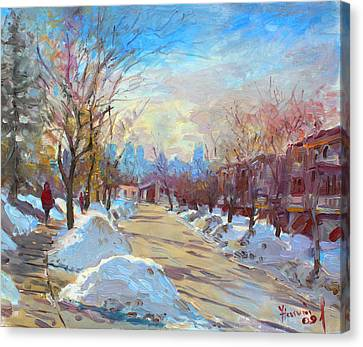 Winter In Silverado Dr Mississauga On Canvas Print by Ylli Haruni