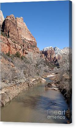 Canvas Print featuring the photograph Winter In Zion 2 by Bob and Nancy Kendrick