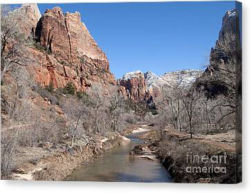 Canvas Print featuring the photograph Winter In Zion by Bob and Nancy Kendrick