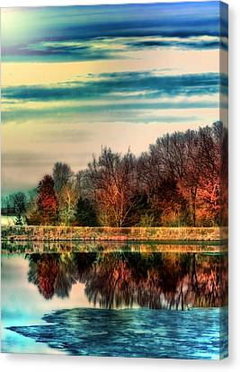 Winter Lake Fantasm Canvas Print by Bill Tiepelman
