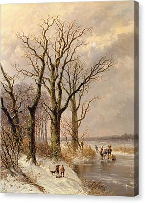 Winter Landscape With Faggot Gatherers Conversing On A Frozen Lake Canvas Print by Josephus Gerardus Hans