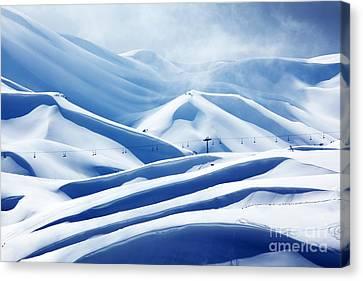 Winter Mountain Ski Resort Canvas Print by Anna Om