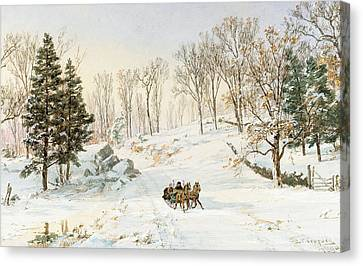 Winter On Ravensdale Road Canvas Print by Jasper Francis Cropsey