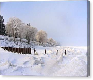 Winter On The Beach At Brights Grove Canvas Print by Bruce Ritchie