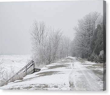 Canvas Print featuring the mixed media Winter On The Old Lakeshore by Bruce Ritchie