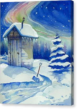 Winter Outhouse Canvas Print by Peggy Wilson