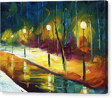 Hill District Canvas Print - Winter Park Evening by Ash Hussein