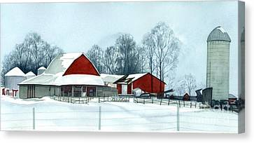 Winter Respite In The Heartland Canvas Print by Barbara Jewell