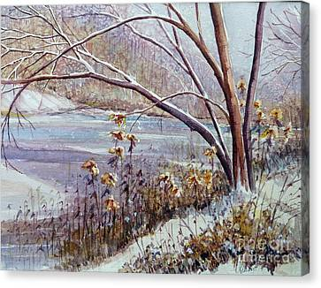 Winter River Canvas Print by Louise Peardon