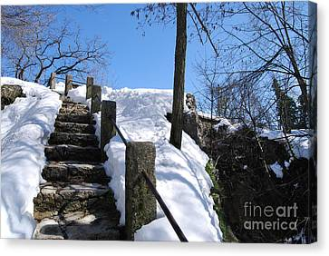 Canvas Print featuring the photograph Winter Scene Of San Marino Castles  Pathway  by Alexandra Jordankova