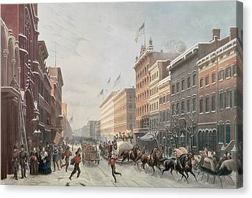 Winter Scene On Broadway Canvas Print by American School