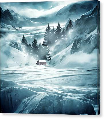 Red Barn In Snow Canvas Print - Winter Seclusion by Lourry Legarde