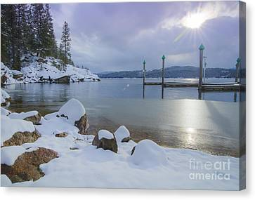 Winter Shore Canvas Print by Idaho Scenic Images Linda Lantzy