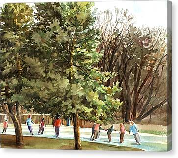 Winter Skating Canvas Print by Peter Sit