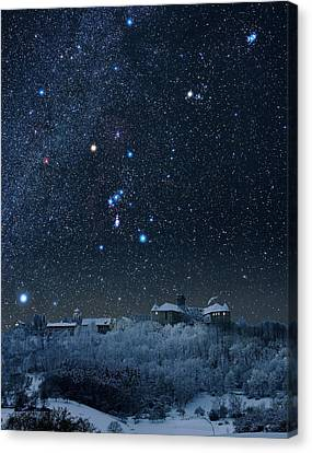 Winter Sky With Orion Constellation Canvas Print by Eckhard Slawik