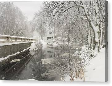 Winter Snowstorm In Somesville Maine Canvas Print by Keith Webber Jr