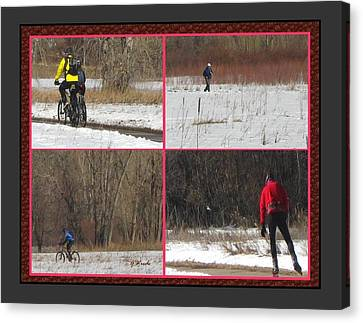 Winter Sports 2 On Bear Creek Trail Canvas Print by Gretchen Wrede
