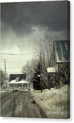 Winter Street Scene With A Car In A Small Town  Canvas Print by Sandra Cunningham