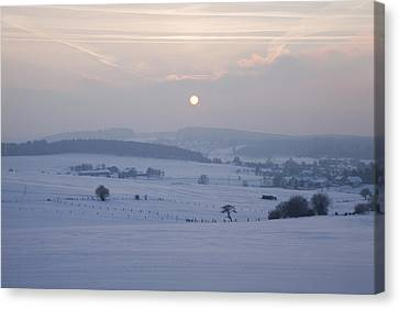 Winter Sunrise Westerwald Canvas Print by Peter Zoeller