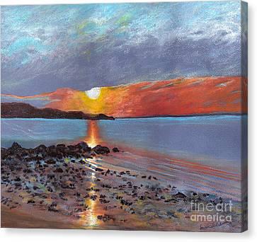 Winter Sunset Centre Island Beach Canvas Print