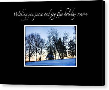 Winter Sunset Christmas Card Canvas Print by Daphne Sampson