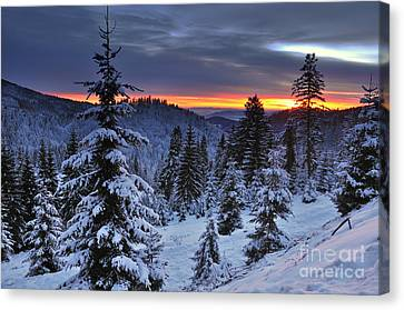Winter Sunset Canvas Print by Ionut Hrenciuc
