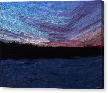 Canvas Print featuring the digital art Winter Sunset by Lauren Radke