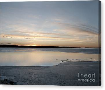 Winter Sunset Over Lake Canvas Print by Art Whitton