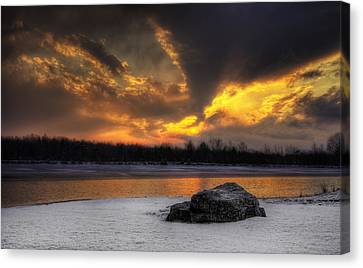 Canvas Print featuring the photograph Winter Sunset by Yelena Rozov