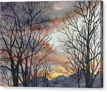 Bare Trees Canvas Print - Winter Watch by Anne Gifford