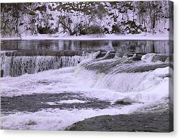 Canvas Print featuring the photograph Winter Waterfalls by Josef Pittner