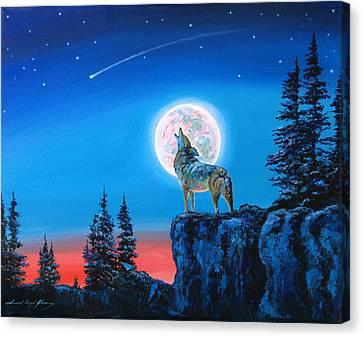 Winter Wolf Moon Canvas Print by David Lloyd Glover