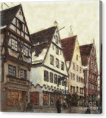 Winterly Old Town Canvas Print by Jutta Maria Pusl