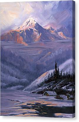 Canvas Print featuring the painting Winters Kiss by Kurt Jacobson