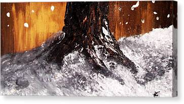 Canvas Print featuring the painting Wintertree Trunk by Ayasha Loya