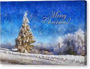 Wintry Christmas Tree Greeting Card Canvas Print by Lois Bryan